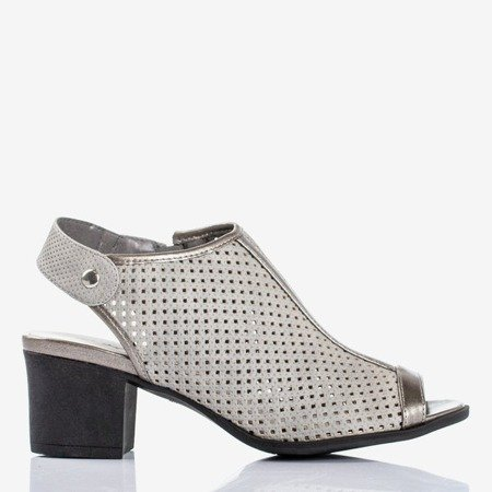 Gray openwork sandals on the post Katina - Footwear 1