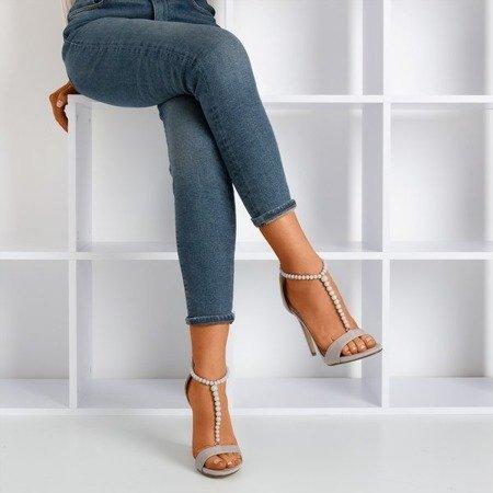 Gray sandals on a high heel Nastula - Footwear