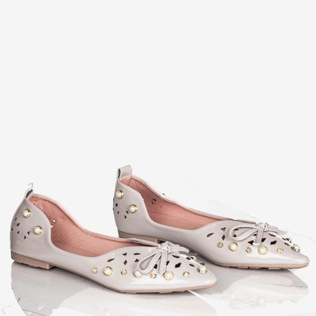 Gray women's ballerinas with Lil decorations - Footwear 1