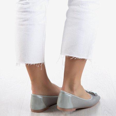 Gray women's ballerinas with a bow Liz - Footwear 1