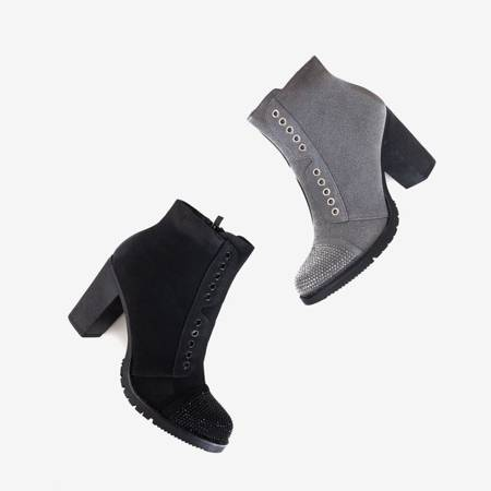 Gray women's boots on the post with decorations Valor - Footwear