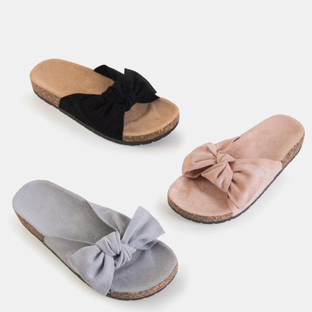 Gray women's slippers with a Sun and Fun bow - Footwear