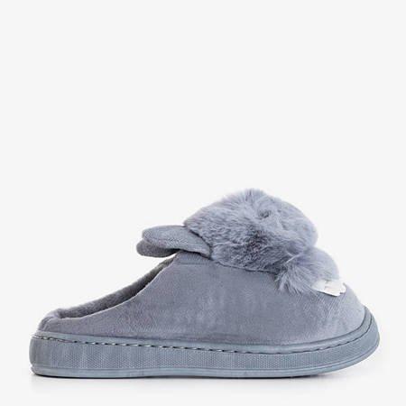 Gray women's slippers with a rabbit Rozalinda - Footwear
