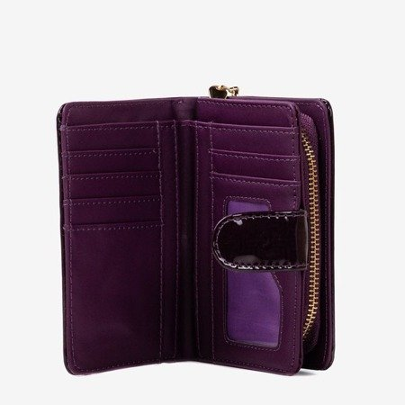 Lacquered small women's wallet in purple - Wallet