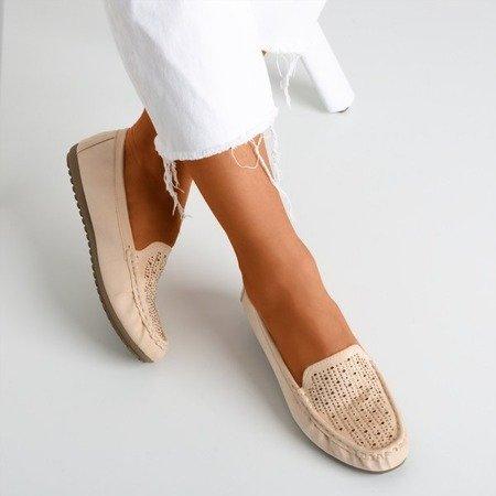 Ladies 'beige moccasins with cubic zirconias Cyliua - Footwear