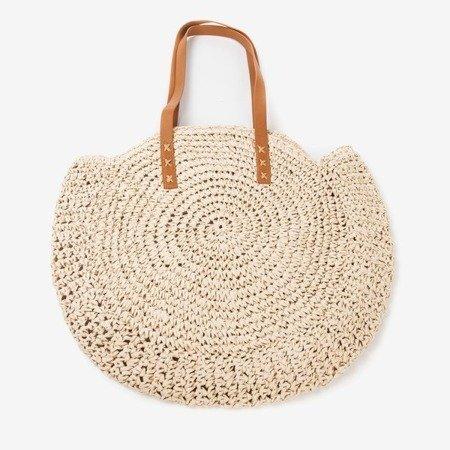 Ladies 'beige round straw shoulder bag - Handbags
