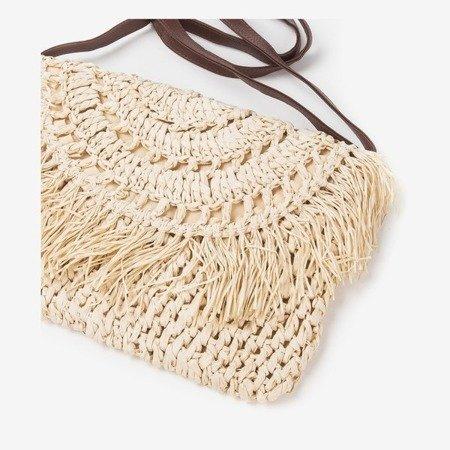 Ladies' beige straw shoulder bag - Handbags