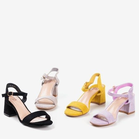 Ladies' black sandals with a glossy finish Mira - Footwear