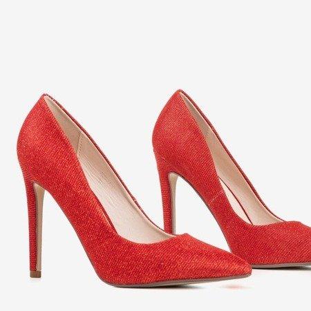 Ladies' red heels with glitter Nissa - Footwear