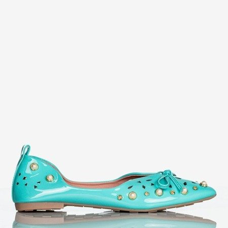 Ladies 'turquoise ballerinas with Lil ornaments - Footwear