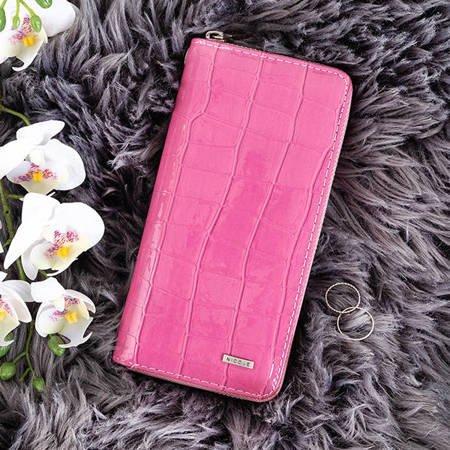 Large fuchsia women's wallet a'la snake skin - Wallet