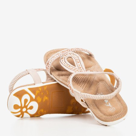 Light pink sandals decorated with cubic zirconia Sesilia - Footwear 1