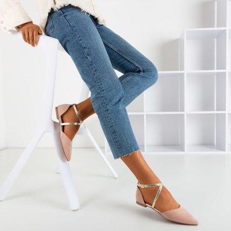 Light pink women's ballerina flat heels Vosia - Footwear 1