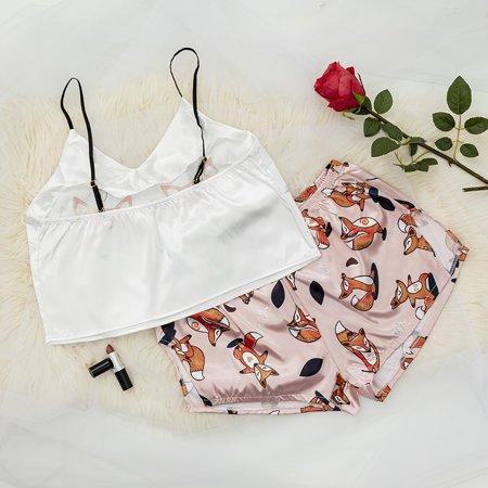 Light pink women's pajamas with a fox print - Clothing