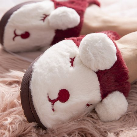 Maroon and white women's slippers Plainet - Shoes
