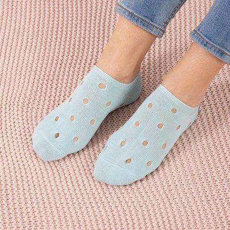 Mint women's socks with decorative holes - Socks