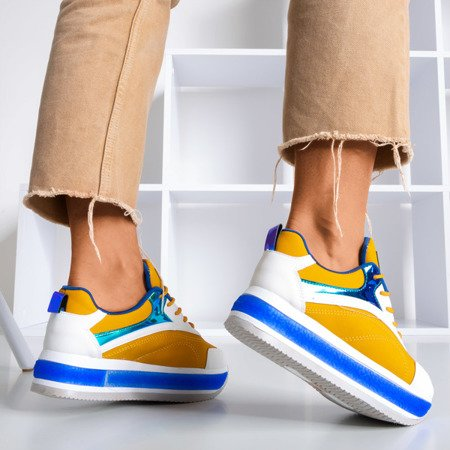Multicolored women's sports shoes on a thick Savssia platform - Footwear