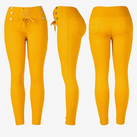 Mustard women's tied trousers with ties - Pants 1
