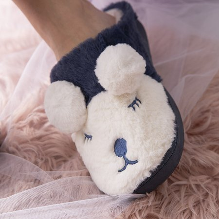 Navy blue and white women's slippers Plainet - Shoes