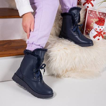 Navy blue snow boots with fur Cool Breeze - Footwear
