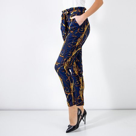 Navy blue women's trousers with print - Clothing
