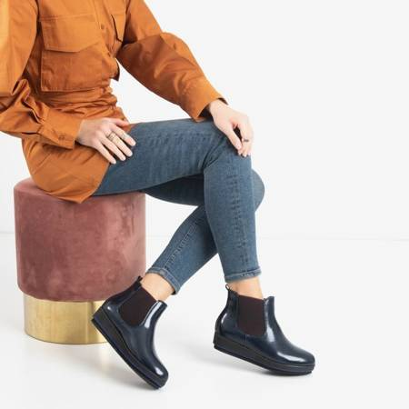 Navy blue women's wedge boots Stasia - Shoes
