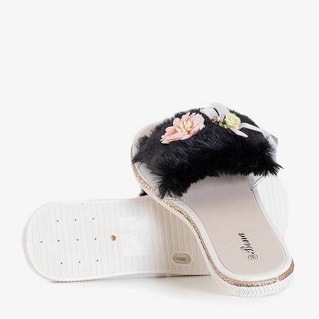 Neil's Black Fur Slippers - Footwear