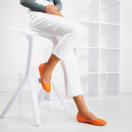 Neon orange women's eco ballerinas - leather Nastis - Footwear