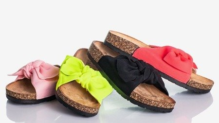 Neon pink slippers with a bow Sunshine - Footwear