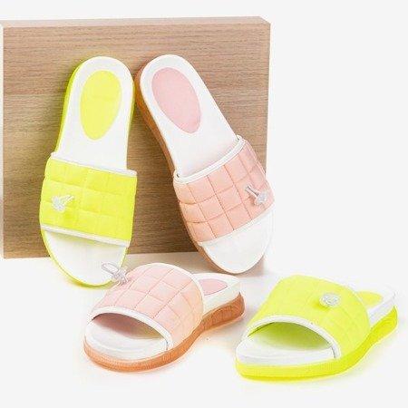 Neon yellow quilted Pixa slippers - Footwear 1