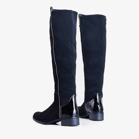 OUTLET Black over-the-knee boots with flat heels by Gaglioli - Shoes