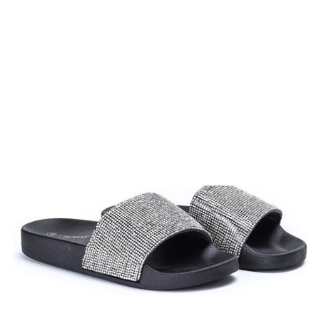OUTLET Black slippers with cubic zirconia Belia - Footwear