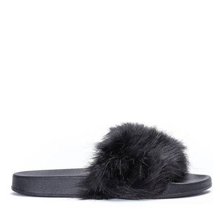 OUTLET Black slippers with fur Millie- Footwear