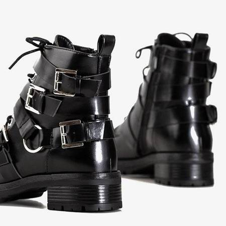 OUTLET Black women's boots with buckles Ermite - Footwear
