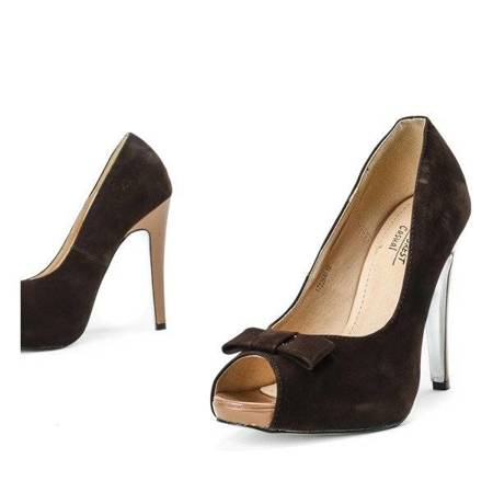 OUTLET Brown pumps on a pin with a bow Acme - Shoes