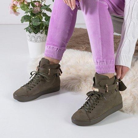 OUTLET Dark green women's lace-up sneakers Pilar - Footwear