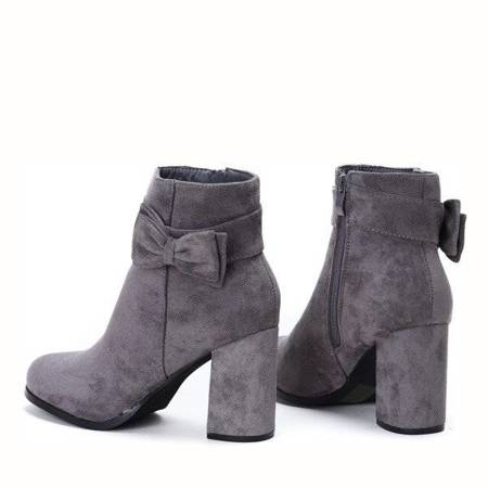 OUTLET Gray and purple boots with a bow on a high post Lucia - Shoes