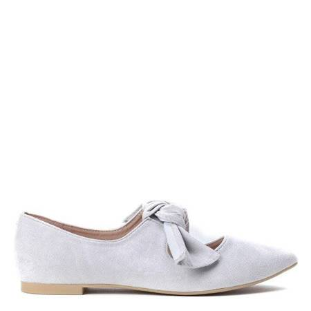 OUTLET Light gray ballerinas with a Julianna bow - Shoes