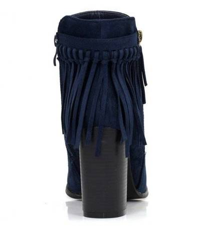 OUTLET Navy blue boots on a higher post with Fedina fringes - Footwear