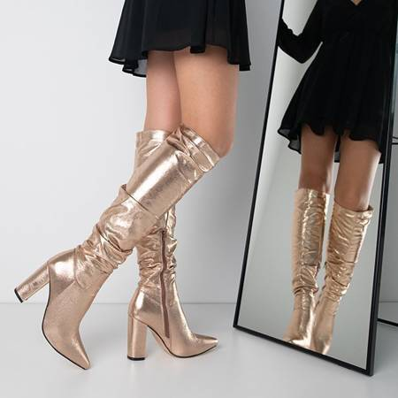 OUTLET Pink and gold women's boots on a post made of eco-leather Lunabell - Shoes