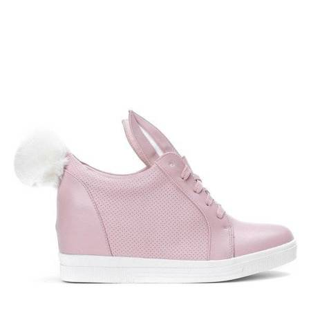 OUTLET Pink sneakers with a white sole on a wedge heel with ears and a pompom Carry - Shoes