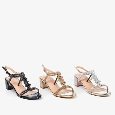 OUTLET Silver sandals on a low post with cubic zirconias Doremia - Footwear