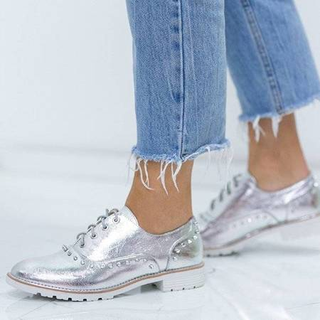 OUTLET Silver shoes with studs Anastie- Shoes