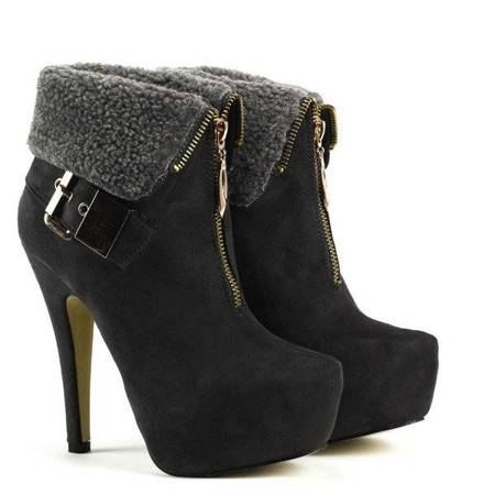 OUTLET Suede Booties Pin with sheepskin - Shoes