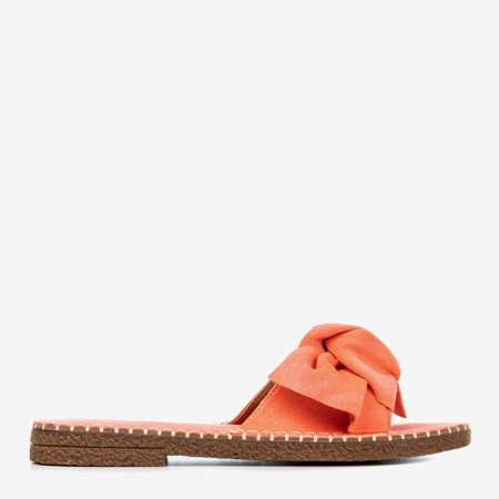 OUTLET Women's coral slippers with a Latusa bow - Footwear