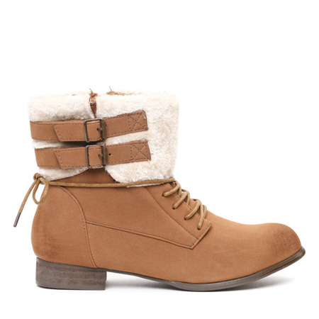 Onani brown boots with sheepskin - Footwear