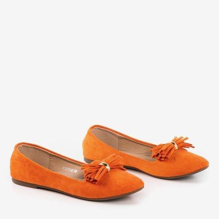 Orange ballerinas with frallise decoration - Footwear