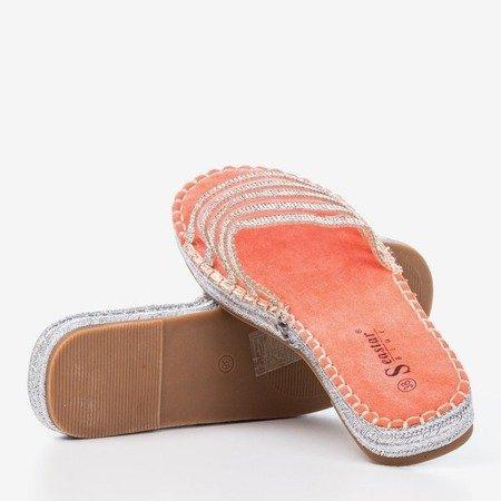 Orange transparent slippers with cubic zirconia Noumeia - Footwear