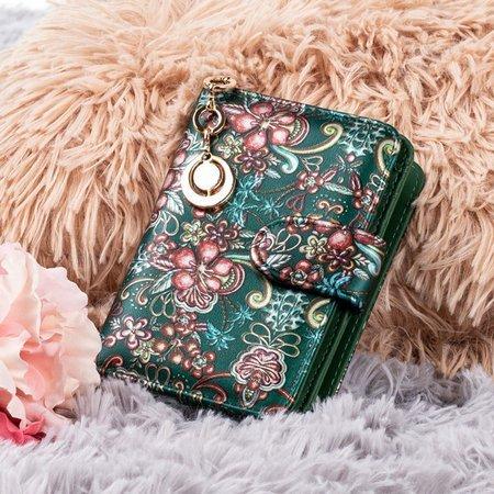 Patterned small women's wallet in green - Wallet 1