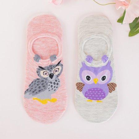 Pink and beige women's pet feet 2 / pack - Socks